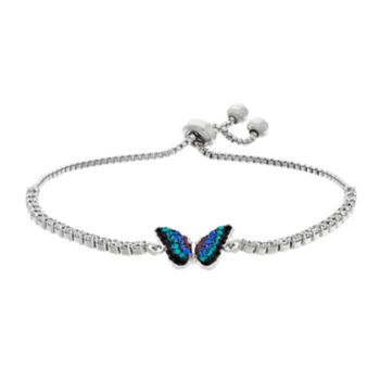 Silver Plated Crystal Butterfly Bolo Bracelet