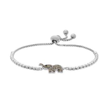 Silver Plated Crystal Elephant Bolo Bracelet