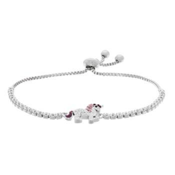 Silver Plated Crystal Unicorn Bolo Bracelet