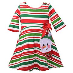 Toddler Girl Bonnie Jean Striped Snowman Skater Dress