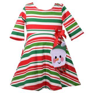 Toddler Girl Bonnie Jean Striped Snowman Skater Dress