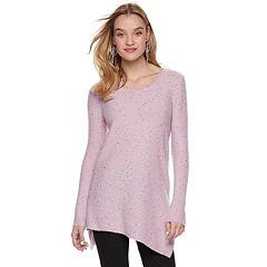 Women's Apt. 9® Asymmetrical Sequin Scoopneck Sweater