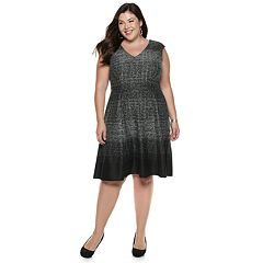 Plus Size Suite 7 V-Neck Fit & Flare Dress