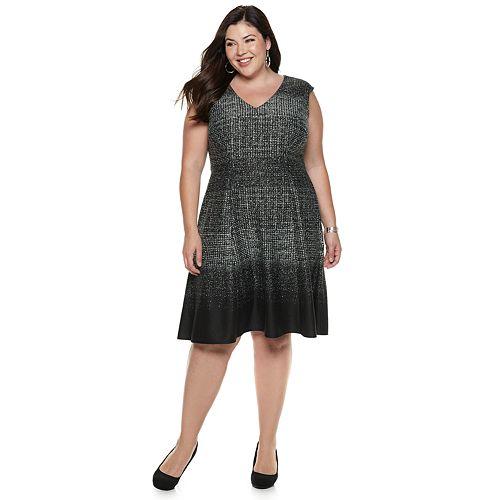 bbdc704c8f0 Plus Size Suite 7 V-Neck Fit   Flare Dress