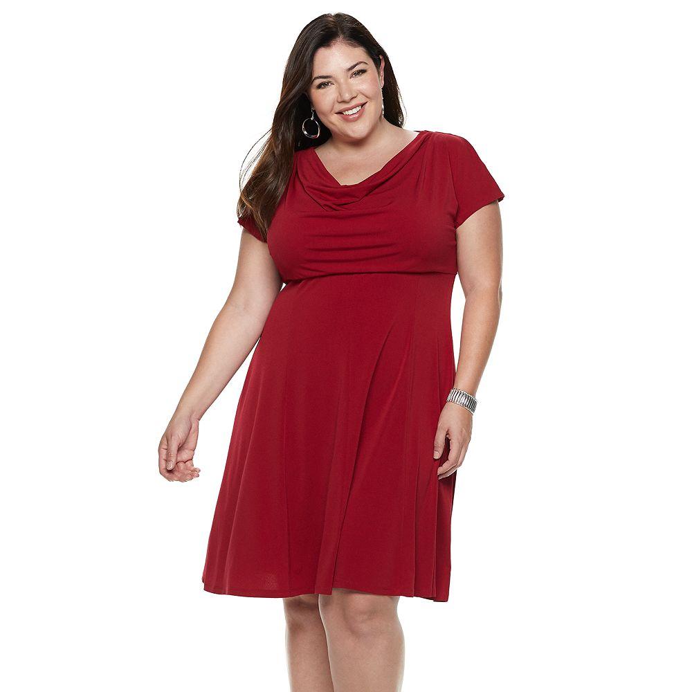 Plus Size Suite 7 Crepe Cowlneck Short Sleeve Dress
