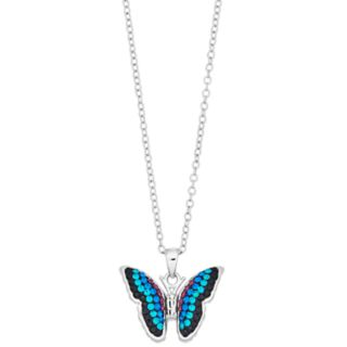 Silver Plated Crystal Butterfly Pendant Necklace