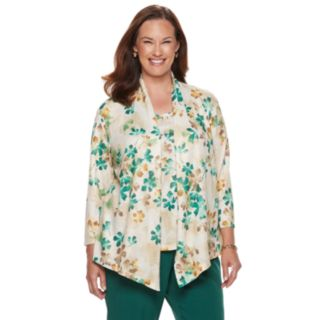 Plus Size Alfred Dunner Floral Mock-Layer Top