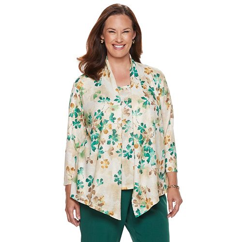 4792fd170026d Plus Size Alfred Dunner Floral Mock-Layer Top