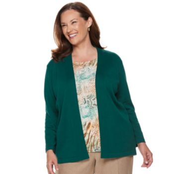 Plus Size Alfred Dunner Studio Mock-Layer Print Cardigan