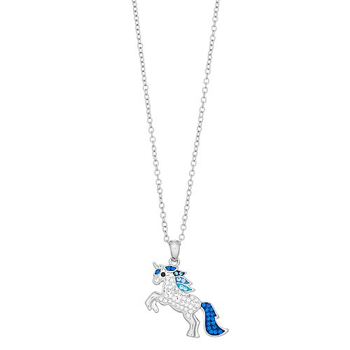 Silver Plated Crystal Unicorn Pendant