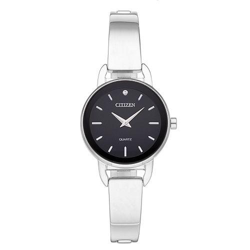 Citizen Women's Crystal Stainless Steel Half Bangle Watch - EZ6370-56E