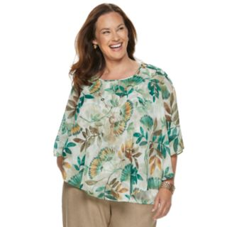 Plus Size Alfred Dunner Studio Leaf Overlay Top