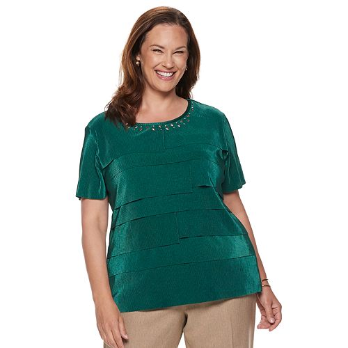 d5ce9a95613ca Plus Size Alfred Dunner Studio Tiered Pleat Top