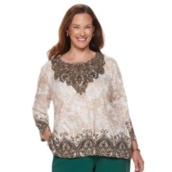 Plus Size Alfred Dunner Studio Scroll Top