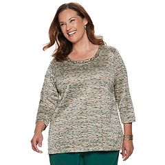 Plus Size Alfred Dunner Studio Embellished Space-Dyed Top