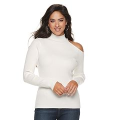 Jennifer Lopez Cold-Shoulder Ribbed Turtleneck Sweater