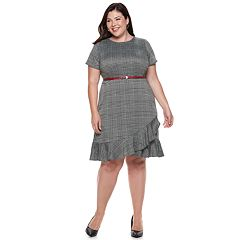 Plus Size Suite 7 Belted Plaid Short Sleeve Dress