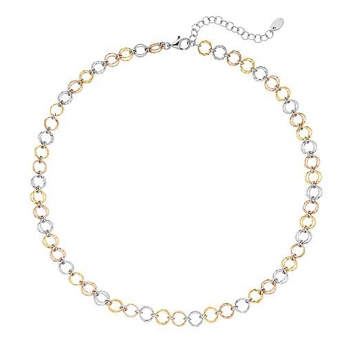 14k Gold Over Silver Tri Tone Circle Link Necklace