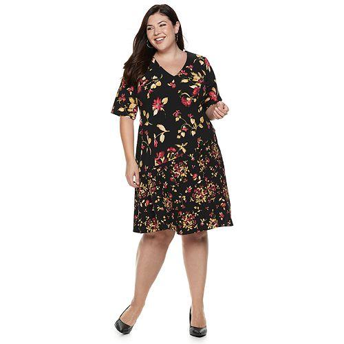 Plus Size Suite 7 Scuba Crepe Floral V-Neck Dress