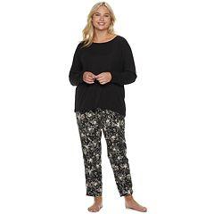 Plus Size SONOMA Goods for Life™ Ribbed Tee & Pants Pajama Set