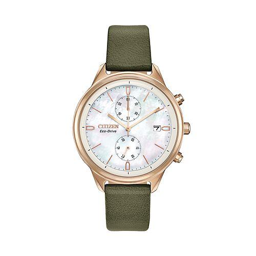 Citizen Eco-Drive Women's Vegan Leather Chronograph Watch - FB2008-01D
