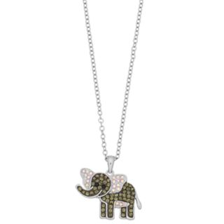 Silver Plated Crystal Elephant Pendant Necklace