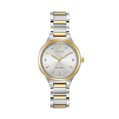 Citizen Eco-Drive Women's Diamond Accent Two Tone Stainless Steel Watch - FE2104-50A