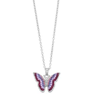 Silver Plated Purple Crystal Butterfly Pendant Necklace