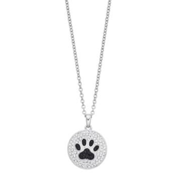 Silver Plated Crystal Paw Print Pendant Necklace