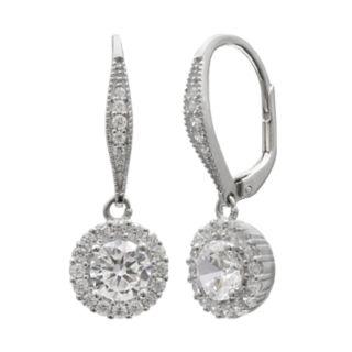 PRIMROSE Sterling Silver Cubic Zirconia Halo Leverback Earrings