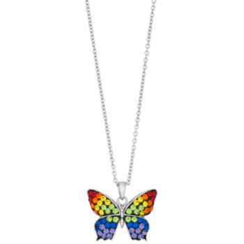 Silver Plated Crystal Rainbow Butterfly Pendant Necklace