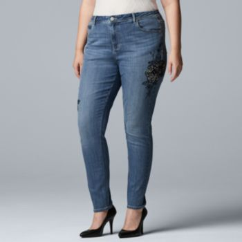 Plus Size Simply Vera Vera Wang Embroidery MidRise Skinny Jeans