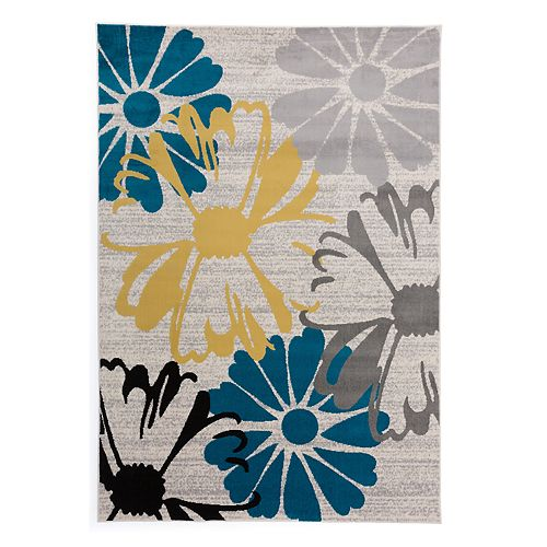 World Rug Gallery Madison Large Flowers Contemporary Modern Rug
