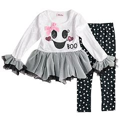 Toddler Girl Little Lass Velvet Tulle 'Boo' Top & Foiled Ghost Leggings Set