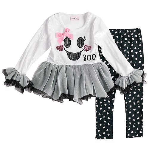 "Toddler Girl Little Lass Velvet Tulle ""Boo"" Top & Foiled Ghost Leggings Set"
