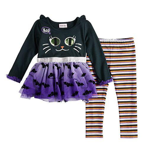 Toddler Girl Little Lass Halloween Black Cat Dress & Leggings Set