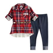 Toddler Girl Little Lass Plaid Lace Shirt & Jeggings Set