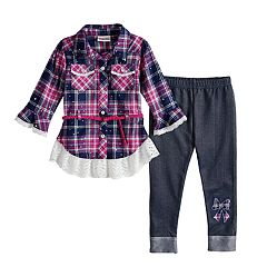 Toddler Girl Little Lass Plaid Sequin Tunic & Jeggings Set