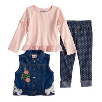 Toddler Girl Little Lass Floral Denim Vest, Top & Leggings Set