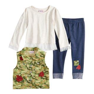 Toddler Girl Little Lass Camouflage Vest, Tulle Top & Rose Jeggings Set