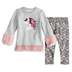 Toddler Girl Little Lass Faux-Fur Fleece Tunic & Unicorn Leggings Set