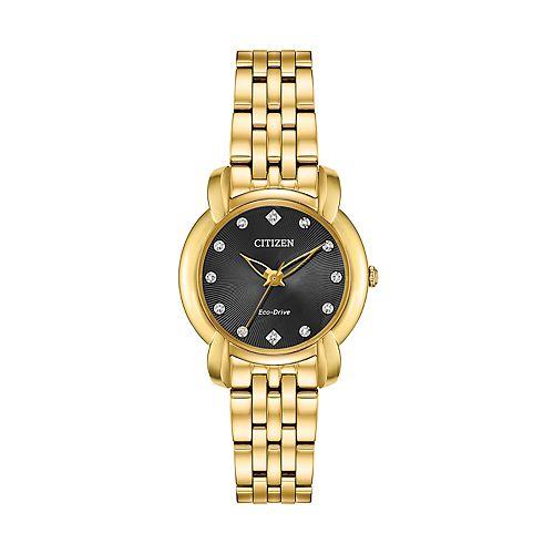 Citizen Eco-Drive Women's Diamond Accent Stainless Steel Watch - EM0712-59E