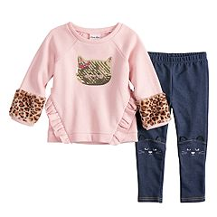 Toddler Girl Little Lass Cat Sequin Glittery Sweatshirt & Embroidered Jeggings Set