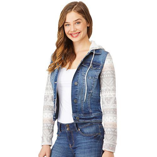 Juniors' Wallflower Knit Sleeve Hooded Denim Jacket
