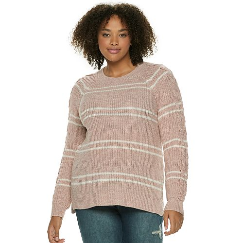 Juniors' Plus Size SO® Lace-Up Sleeve Sweater