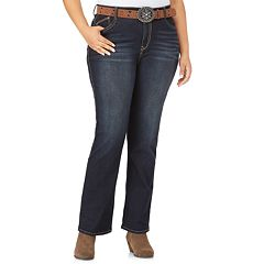 Juniors' Plus Size WallFlower Mid-Rise Belted Bootcut Jeans