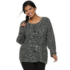 Juniors' Plus Size SO® Cable-Knit Sweater