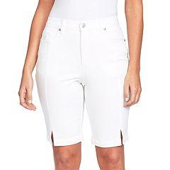 Petite Gloria Vanderbilt Amanda Midrise Bermuda Trouser Shorts