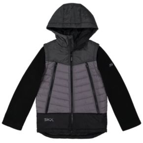 Boys 4-7 Skechers Colorblock Quilted Midweight Hooded Jacket