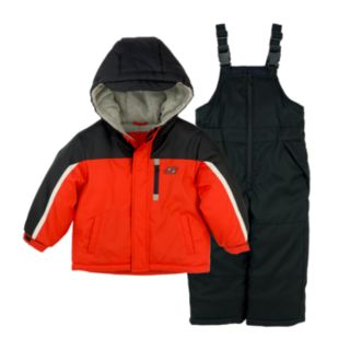 Boys 4-7 Skechers Colorblock Hooded Heavyweight Jacket & Bib Overall Snow Pants